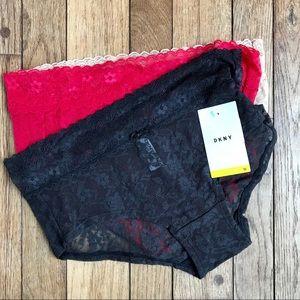 NWT DKNY Set 3 Sheer Lace Valentine Underwear *I17